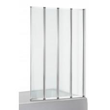 EGER Шторка-гармошка на ванну 89*140см, прозрачное стекло 5мм, профиль хром 599-110