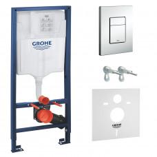 GROHE RAPID SL 4в1 комплект для подвесного  унитаза (бачок, крепеж, кнопка хром - 38772001+37131000