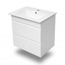 VOLLE FIESTA комплект мебели 60см белый: тумба подвесная, 2 ящика + умывальник накладной арт 13-01-0