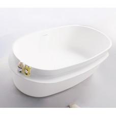VOLLE Ванна 163*75*53см отдельностоящая каменная Solid surface, с полочкой 12-40-054