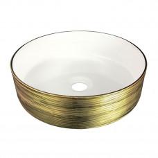 VOLLE Умывальник 36*36*12см накладной керамический круглый, золото/белый 13-40-222G
