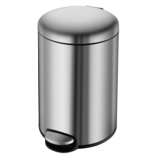 VOLLE Ведро мусорное округлое 12л, с педалью, матовая сталь (14-12-53ST)