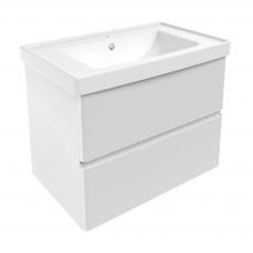 VOLLE OLIVA комплект мебели 80см белый: тумба подвесная, 2 ящика + умывальник накладной арт 13-01-06