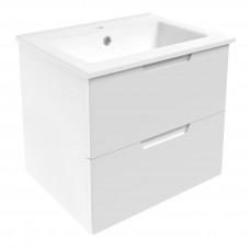 VOLLE LIBRA комплект мебели 60см белый: тумба подвесная, 2 ящика + умывальник накладной арт 15-41-06
