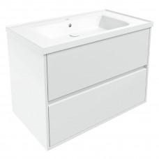 VOLLE TEO комплект мебели 80см белый: тумба подвесная, 2 ящика + умывальник накладной арт 15-88-080