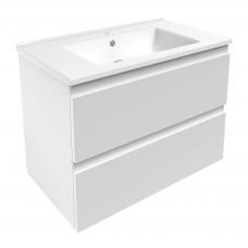 VOLLE LEON комплект мебели 80см белый: тумба подвесная, 2 ящика + умывальник накладной арт 13-01-402