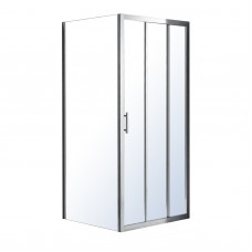 EGER LEXO душевая кабина 100*80*195см с 3хсекционной раздвижной дверью, прозрачное стекло 6мм, хром