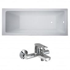 VOLLE Комплект: LIBRA ванна 150*70*45,8см без ножек + BENITA смеситель для ванны, хром 35мм TS-15704