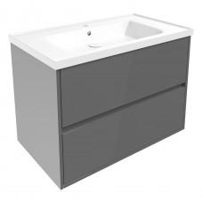 VOLLE TEO комплект мебели 80см серый: тумба подвесная, 2 ящика + умывальник  (15-88-81G)