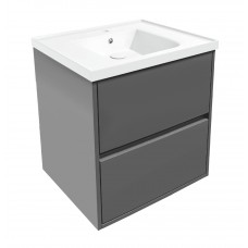 VOLLE TEO комплект мебели 65см серый: тумба подвесная, 2 ящика + умывальник накладной арт 15-88-060