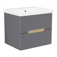 VOLLE PUERTA комплект мебели 60см серый: тумба подвесная, 2 ящика + умывальник накладной арт 13-16-0
