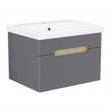 VOLLE PUERTA комплект мебели 60см серый: тумба подвесная, 1 ящик + умывальник (15-16-61G)