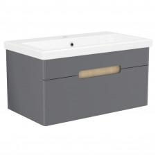 VOLLE PUERTA комплект мебели 80см серый: тумба подвесная, 1 ящик + умывальник накладной арт 13-16-01