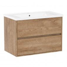 VOLLE TEO комплект мебели 80см дуб готланд: тумба подвесная, 2 ящика + умывальник накладной арт 15-8