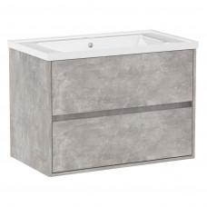 VOLLE TEO комплект мебели 80см бетон: тумба подвесная, 2 ящика + умывальник накладной арт 15-88-080
